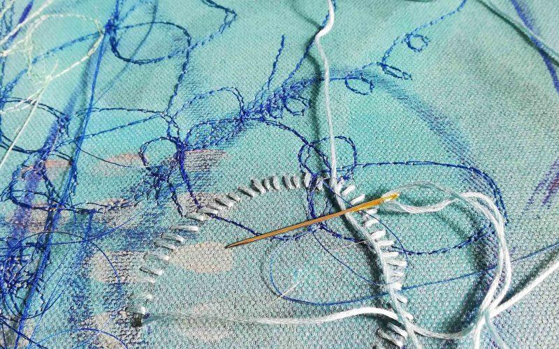 Artist-Ellie-Hipkin-hand-embroidering-Serene
